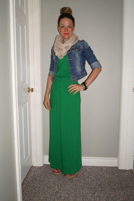 Gap Kelly Green Maxi Dress Jean Jacket &amp SITC Summer Scarf