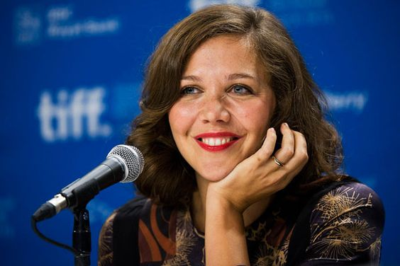 Maggie Gyllenhaal talks at a press conference promoting her new film 'Hysteria' during the Toronto International Film Festival in Toronto, on Thursday, Sept. 15, 2011.