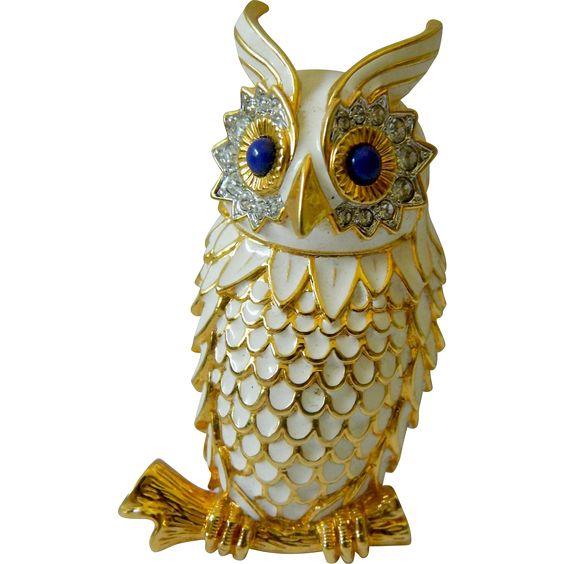 Signed-KJL enameled -Dynamic owl pin