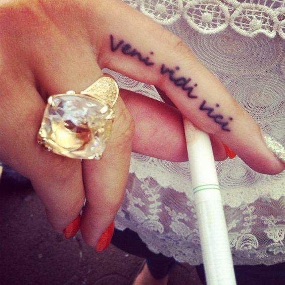1000 ideas about inside finger tattoos on pinterest - Tatouage veni vidi vici ...