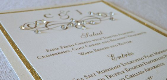 Little Black Dress Paperie: Day of Wedding Invitations . Menu