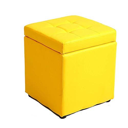 Wexxew Stool Storage Stool Living Room Bedroom Living Room Colorful Selection 30 30 35cm Color Yellow Living Room Stools Square Storage Ottoman Storage Stool