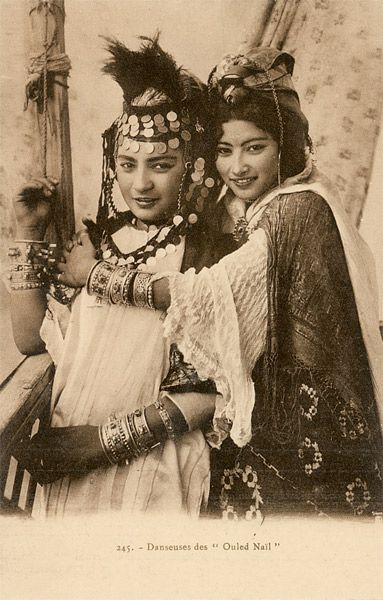 """""""Danseuses des Ouled Nail"""" ~ Tunisia & Algeria collection of coloured postcards by Lehnert & Landrock 
