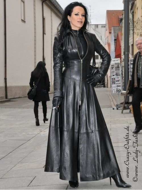 women in leather coat fetish domination