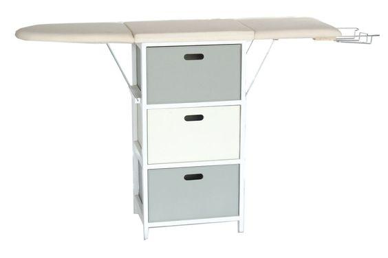 vente meng 17162 salle de bain et buanderie meuble de repassage en bois blanc et gris. Black Bedroom Furniture Sets. Home Design Ideas