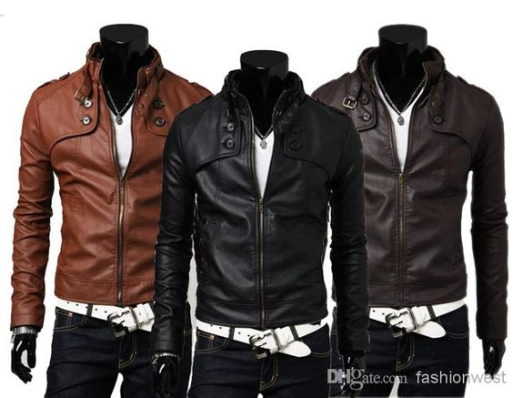 Mens Jackets Fashion Mens PU Leather and Warm Coats with Zipper
