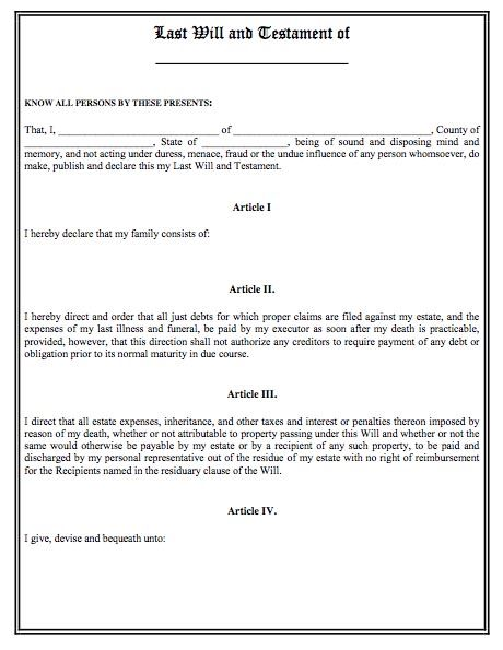 Printable sample last will and testament template form for Templates for wills free
