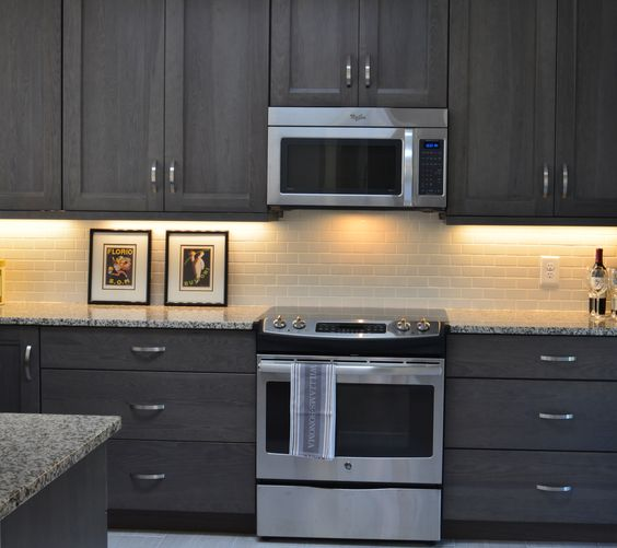 Gray Stained Kitchen Cabinets Kitchen Grey Distressed: Grey Stained Hickory Cabinets Grey Kitchen Https://www