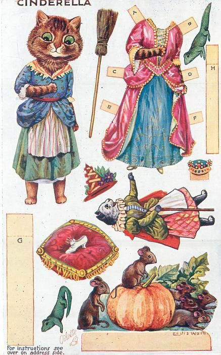 FRONT of POSTCARD <<=>> Information <<=>> Set Title: DRESSING DOLLS' FAIRY TALE, Series V Set Comment: Oilette, Printed In England, Copyright London, Cut Outs; Instructions on back, From a Louis Wain Original Painting, see Booth and Lund. Listed in 1930 Postcard Catalogue Card Title: CINDERELLA Number: 3385 Artist: LOUIS WAIN