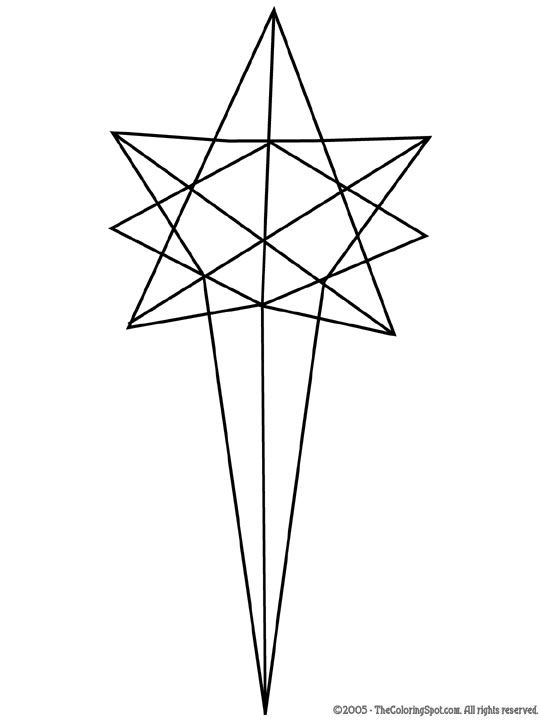Star Of Bethlehem Printable Merry Christmas Coloring Pages Star