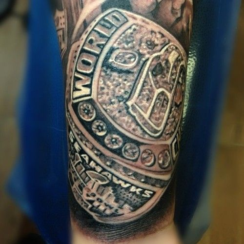 very cool and highly detailed seattle seahawks super bowl ring tattoo football fan tattoos. Black Bedroom Furniture Sets. Home Design Ideas