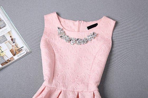 Pink Plain Pleated Round Neck Sleeveless High waisted Princess Fashion Mini Dress - Mini Dresses - Dresses