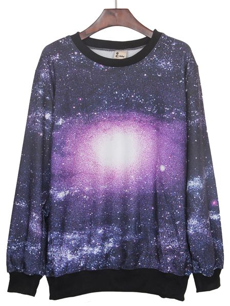 Black and Purple Round Neck Galaxy Print Ribbed Sweateshirt #SheInside #galaxy #sweatshirt