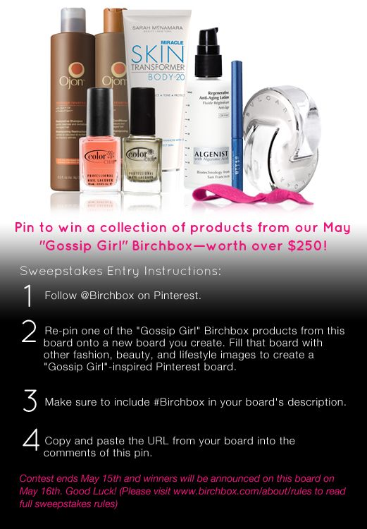 """Pin to win a collection of full-size products from the """"Gossip Girl"""" Birchbox!"""