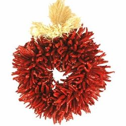 Chili pepper wreath... if you ever can get to southern NM or AZ... you can  purchase these from stands off the street for very little.