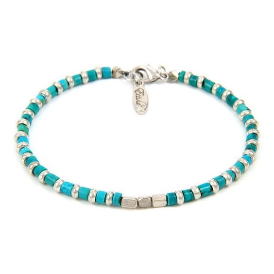 Mens Turquoise beaded bracelet with Silver Toggle