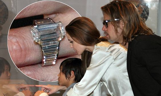 Up close and perfect: Angelina Jolie's $250,000 engagement ring which took perfectionist Brad Pitt a year to design