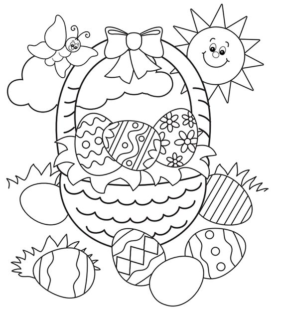 Easter basket egg colouring page: