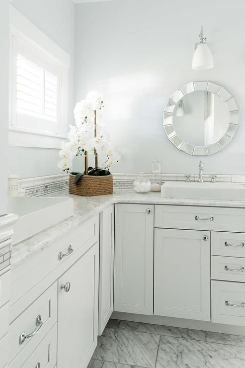 Beautiful Bright Master Bathroom Features A White And Gray Marble