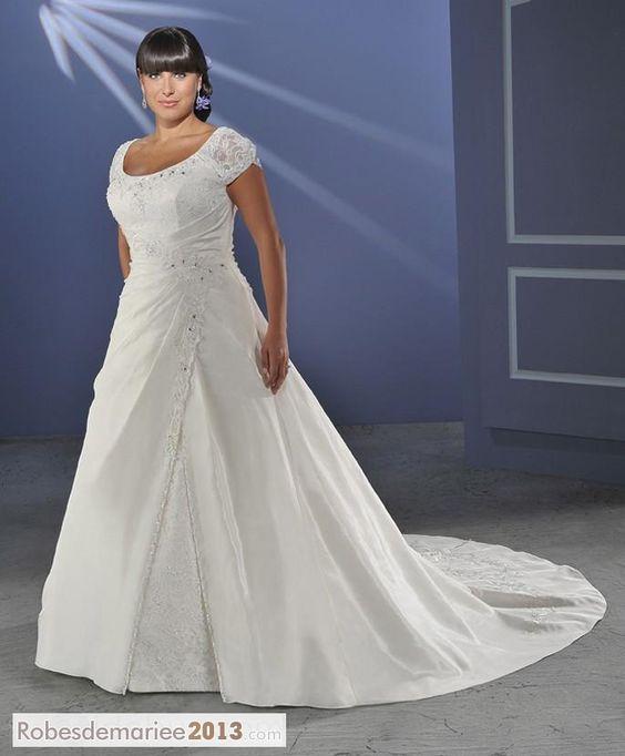 Glorious A-line  Princesse Appliques Short-Sleeve Chapelle Floor-length Plus Size robe de mariée