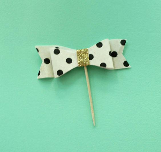 Polka Dot Bow Cupcake topper. Bridal shower Baby by SEVENTHandJ