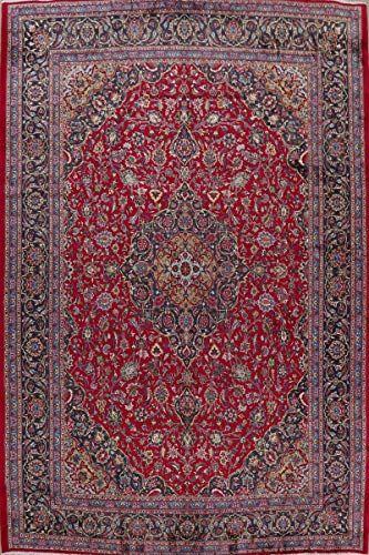 Vintage Kashmar Persian Floral Area Rug Handmade Red Wool Oriental