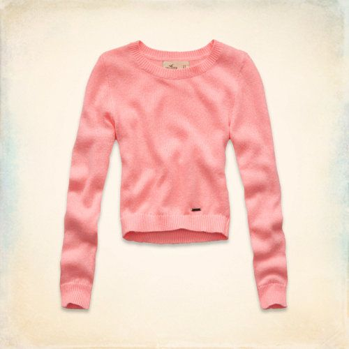 Pearl Street Cropped Sweater (Coral, Cream, Light Blue or Grey)