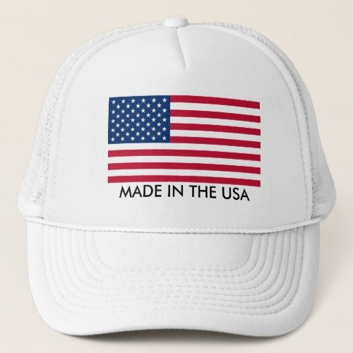 Made In The Usa With Flag Trucker Hat Zazzle Com In 2020 Trucker Hat Trucker Custom Hats