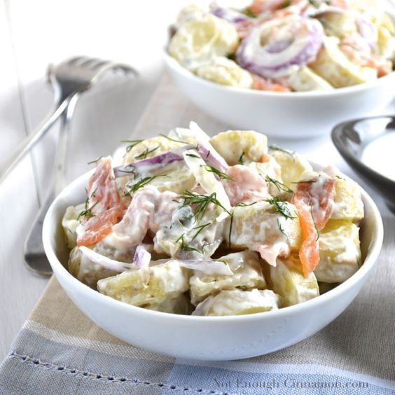 Smoked Salmon Potato Salad with a Creamy Dill Smoked Salmon Potato Salad with Creamy Dill Dressing! Delicious, easy and Healthy!!!-  Cal: 190 Protein: 8.87g Fat: 2.53g Carbs: 33.8g - Fiber: 2.56g - Sugar: 3.27g - WW Old Points: 3 pts - Points+: 5 pts Ingredients Salad 2 lb potatoes  1 tsp salt 1  red onion, sliced 4 slices smoked salmon 1 tbsp capers (optional) Dressing:  1/4 cup half and half 1/2 cup fat free Greek style yogurt 1 tsp dijon mustard 1 tbsp lemon juice 1 tbsp fresh dill