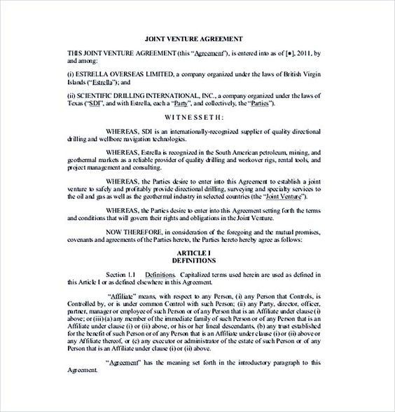 Free Donwload Joint Venture Agreement , Joint Venture Agreement - joint venture agreement