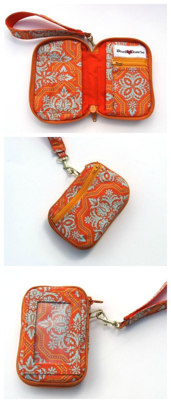 Pattern to purchase. This wallet sewing pattern is a winner!  Compact but still room enough for my phone, cards, cash, ID etc. Not for beginners but well worth the effort to sew this wristlet wallet pattern.