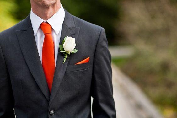 gray and orange groomsman ideas #graywedding http://www.weddingchicks.com/2013/11/22/ontario-handcrafted-wedding/