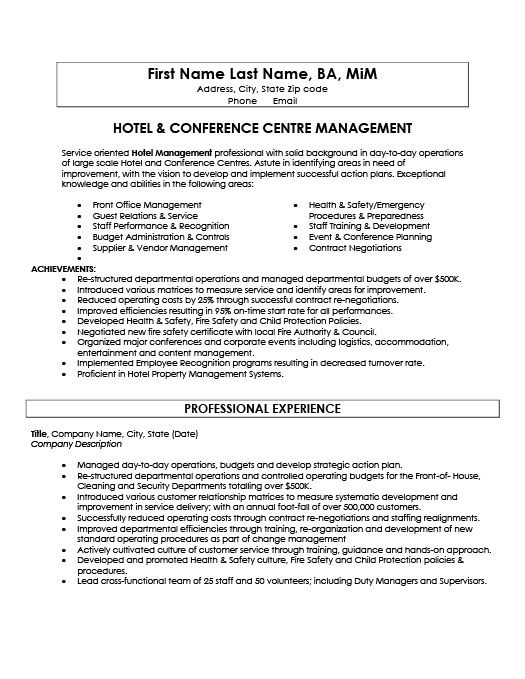 Hotel And Conference Centre Manager Resume Template Premium