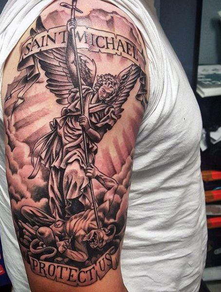Angel Micheal Tattoos On Man's Arm