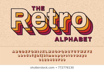 Retro Font 90 S 80 S With Colorful Layers And Vhs Effect Vector Abc Alphabet Retro Typography Retro Font Aesthetic Fonts