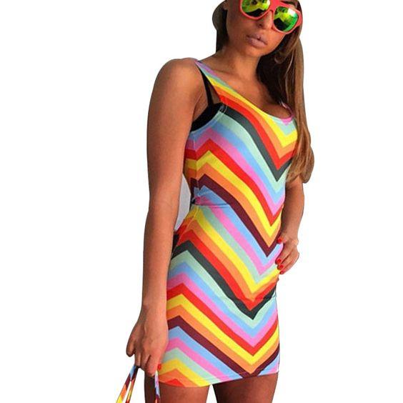 Hot Sales Rainbow Women Dress Multicolor Slash Striped Sexy Club Dress | Joana's Goodies