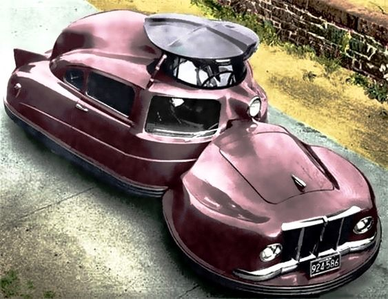 """1958 Sir Vival, raised turret provides the driver with maxium visbility, a goal furthered by a 360 degree wrap-around screen that constantly rotated past built-in squeegees to wipe it clean. ~ M.S.M. Gish ~ Miks' Pics """"Era Automobiles l"""" board @ http://www.pinterest.com/msmgish/era-automobiles-l/"""
