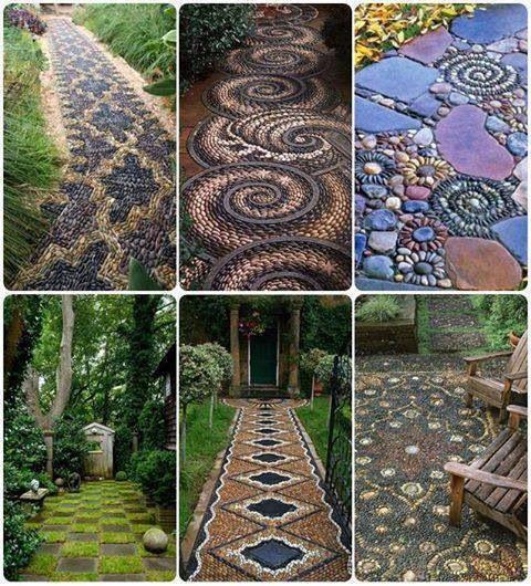 Suelos, caminos de piedra, mosaico