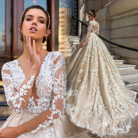 The Setting Of Computer Screen Or Photo Capturing May Alter The Real Color Of The Dr Long Sleeve Princess Wedding Dresses Wedding Dress Sleeves Lace Ball Gowns