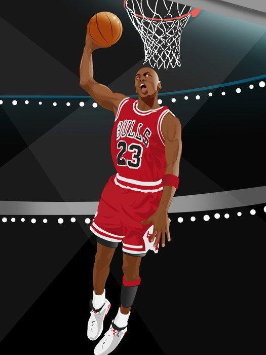 michael jordan dunk art nba basketball
