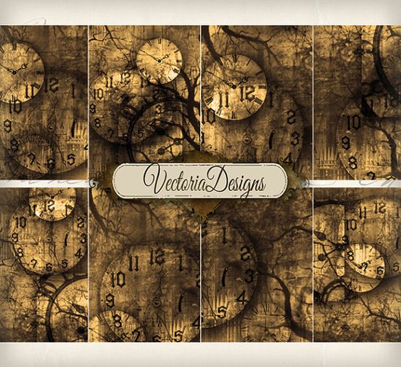 Time Doesn\u0027t Exist Gothic Clock ATC images digital background - time clock spreadsheet