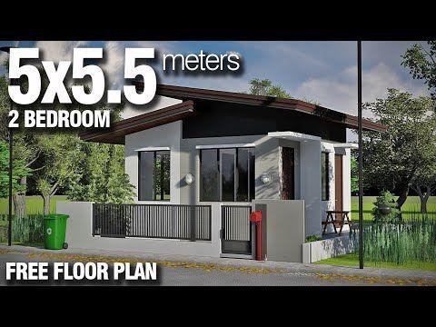 5x5 5 Meters 2 Bedroom Modern Bungalow Free Floor Plan Interior Design Budget Hous Modern Bungalow House Modern House Floor Plans Small House Floor Plans