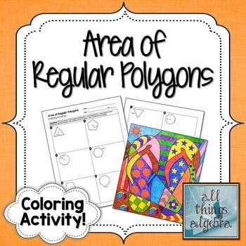 Area of Regular Polygons Coloring Activity My TpT Store