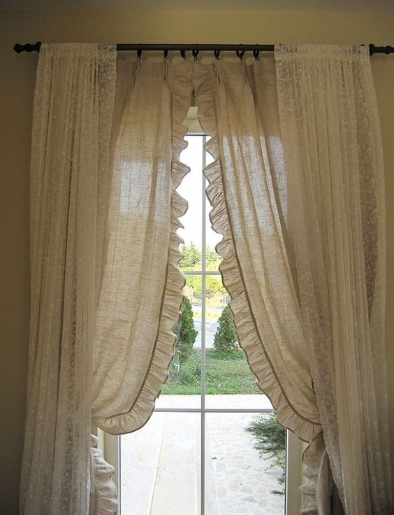 Curtains Ideas beach cottage curtains : French country beach cottage chic pinch pleated ruffled pair ...