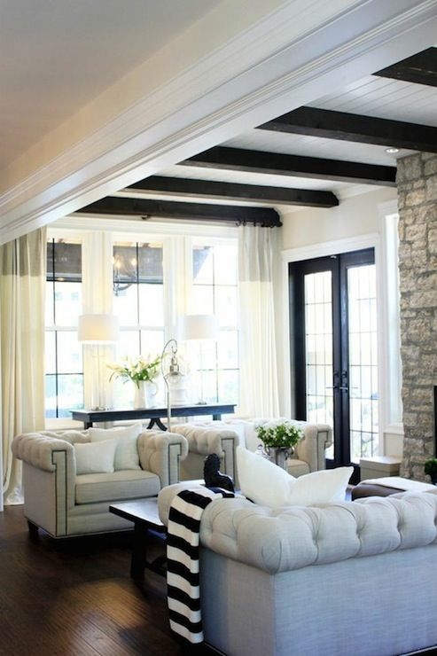 Dark wood exposed beams and living rooms on pinterest for Exposed beam ceiling living room
