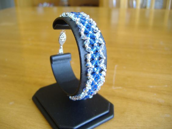 Swarovski crystal woven bracelet (delicate) with sterling silver accent beads and sterling silver fish hook clasp