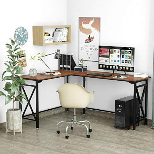 L Shaped Computer Desk 67 X 51 Walnut Corner Computer Desks 2 Piece Corner Laptop Table Home O In 2020 With Images Desktop Computer Desk Home Office Desks Corner Computer Desk