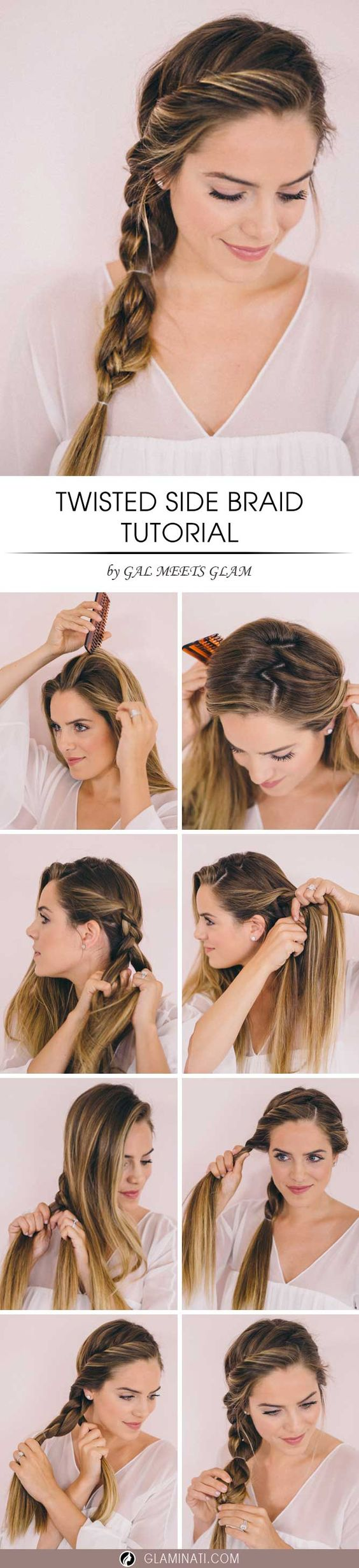 A side braid is trendy right now. It is perfect for everyday wear and some fancy parties. A twisted braid looks terrific with evening gowns and it is more creative than a regular updo.: