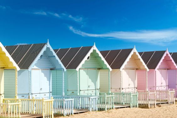 Rent a beach hut. Loving the pastel colours. #beach #seaside #beachhut: