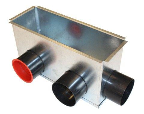 Luftanschlusskasten zur Montage der Zu- und Abluftgitter